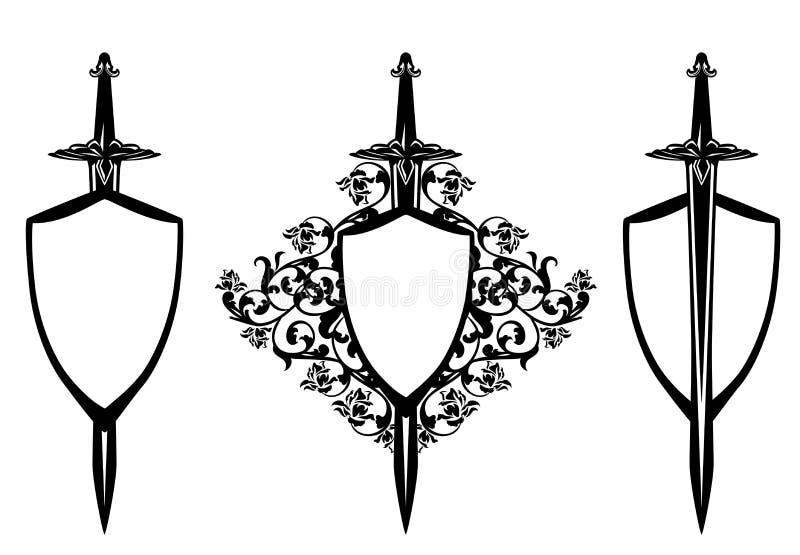 Экран и шпага среди дизайна вектора роз черного иллюстрация штока
