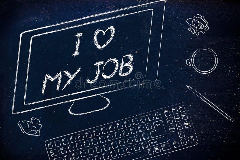 Экран компьютера говоря влюбленность I моя работа среди других объектов на стоковое фото