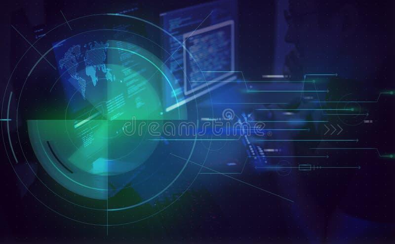 Экран компьютера показывая безопасность кода бесплатная иллюстрация