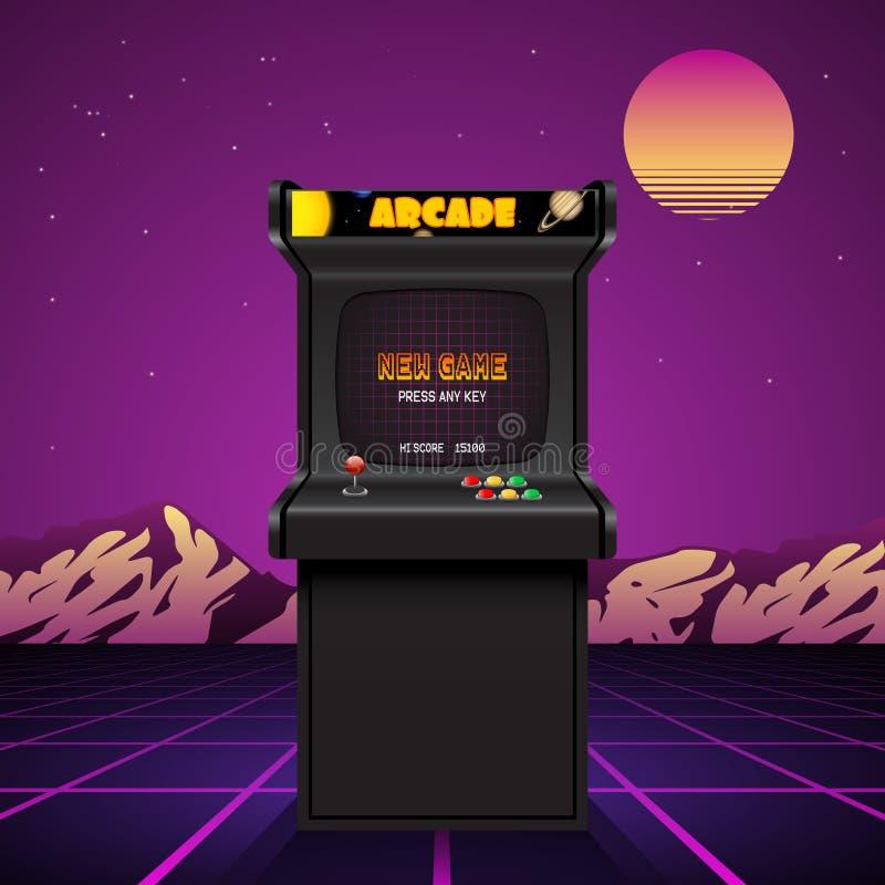 Экран машины аркады, ретро вектор иллюстрация вектора