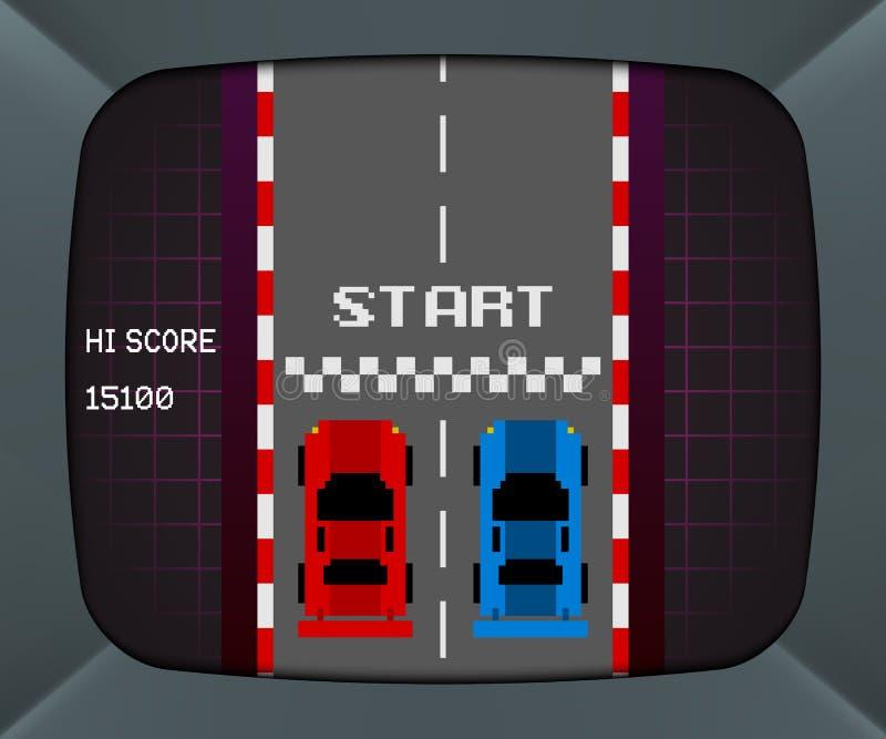 Экран машины аркады с ретро видеоигрой бесплатная иллюстрация