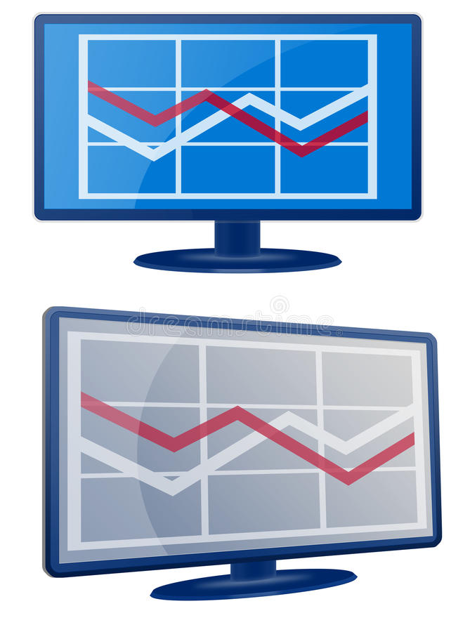 экран монитора lcd диаграммы дела иллюстрация вектора