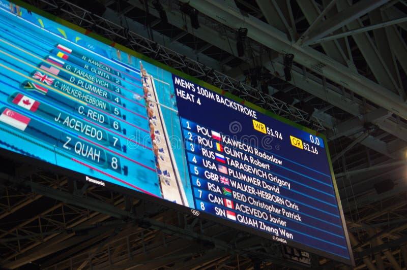 Экран на олимпийском стадионе Aquatics Rio2016 стоковые фото