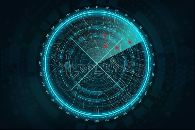 Экран радара в футуристическом стиле бесплатная иллюстрация