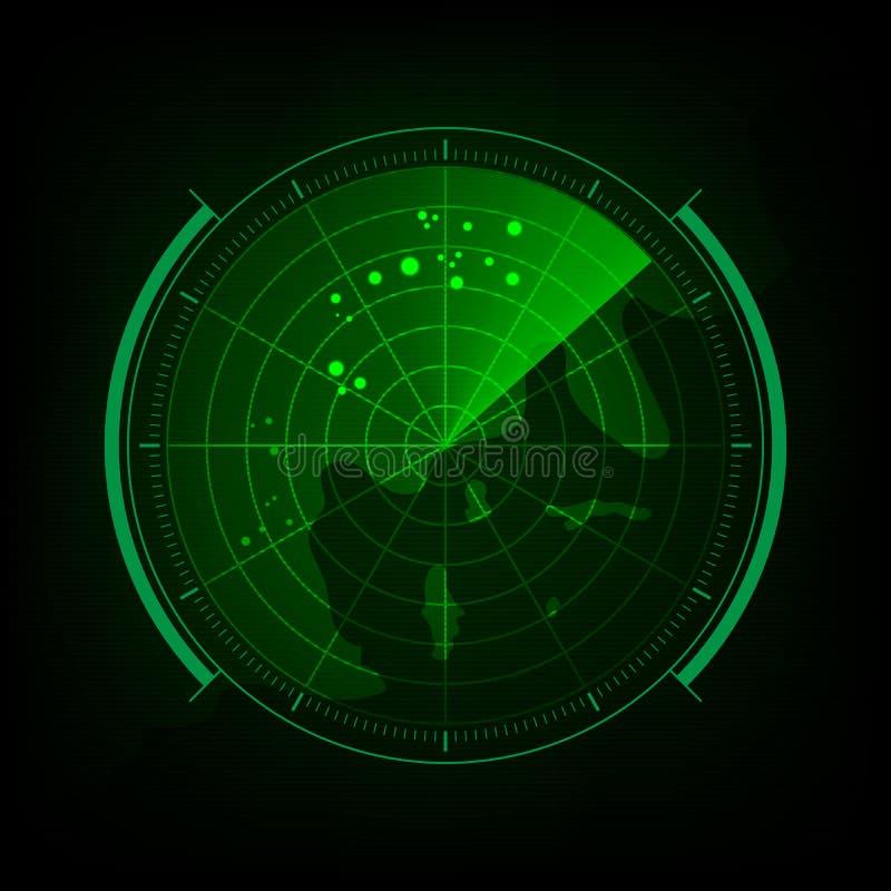 Экран радара с футуристическим пользовательским интерфейсом и цифровыми мамами мира иллюстрация вектора