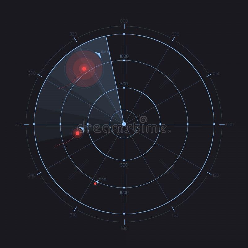 Экран радара вектора, футуристический дисплей радиолокатора HUD иллюстрация вектора