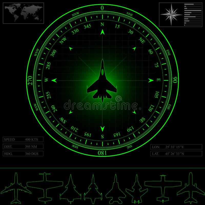 Экран радара с компасом иллюстрация вектора