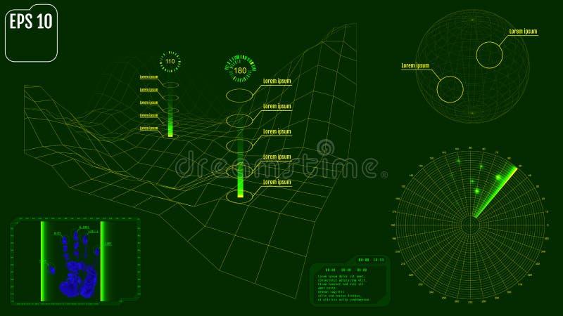 Экран радара с планетой, картой, целями и футуристическим потребителем взаимо- иллюстрация штока