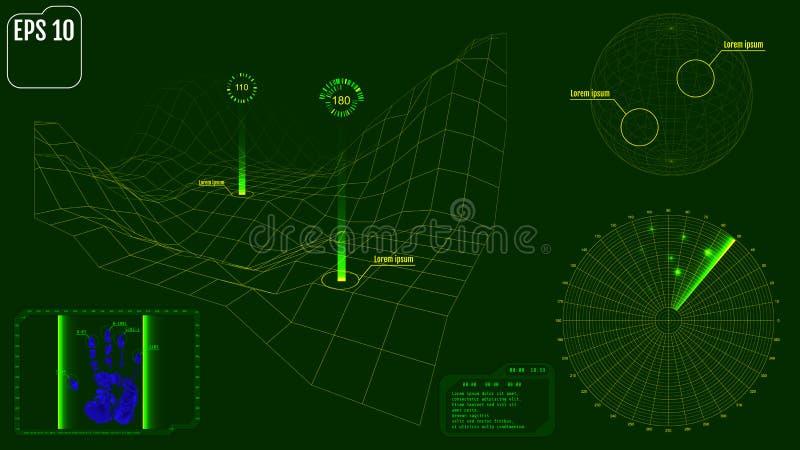 Экран радара с планетой, картой, целями и футуристическим потребителем взаимо- бесплатная иллюстрация