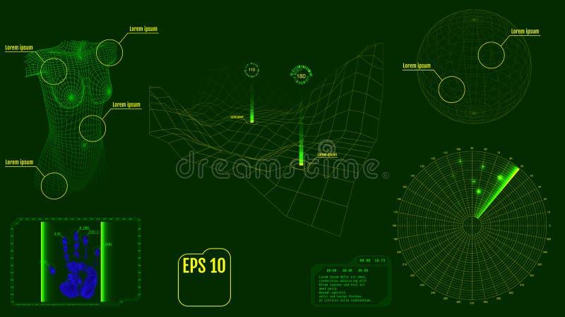 Экран радара с телом, планетой, картой, целями и футуристическим потребителем иллюстрация штока