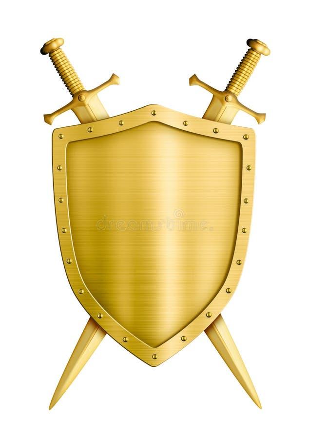 Экран рыцаря герба золота средневековый и иллюстрация вектора