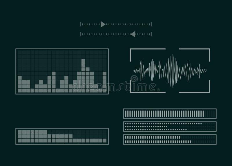 Экран с аудио программой иллюстрация штока