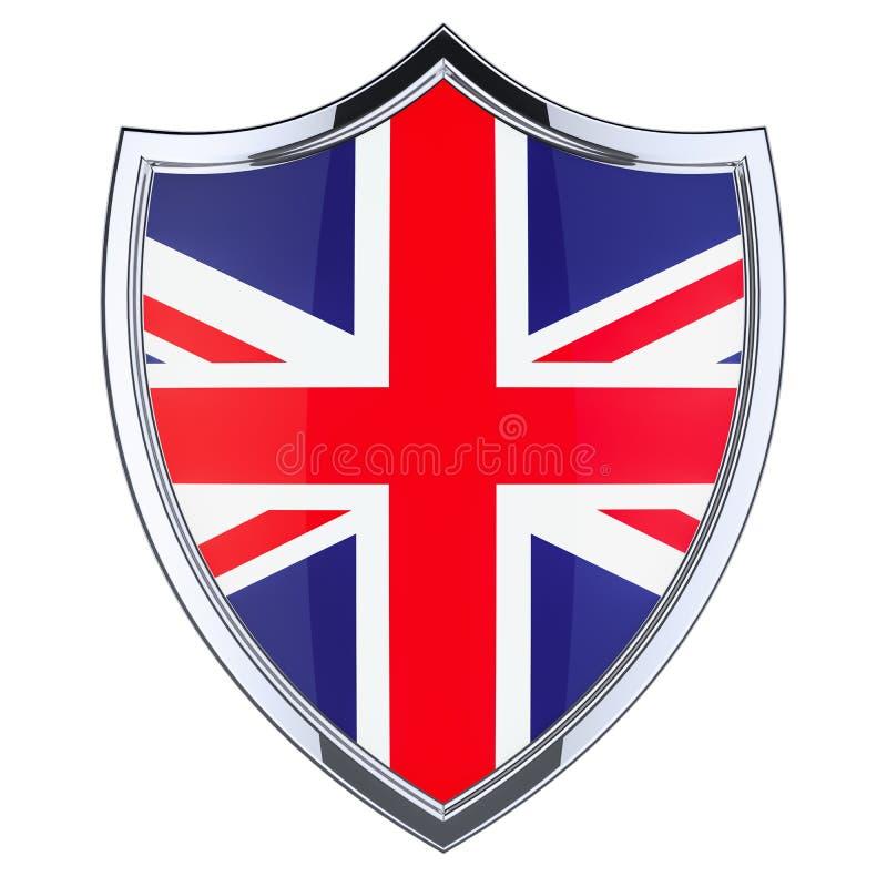 Экран с великобританским флагом, переводом 3D иллюстрация штока