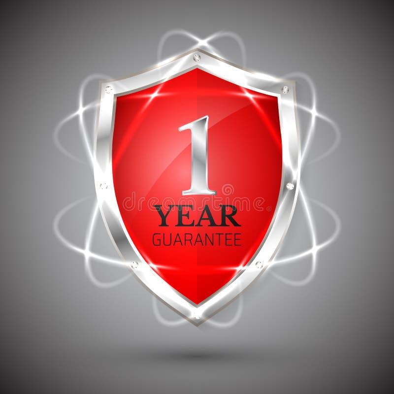 Экран с гарантией значок 1 года Обязательства ярлыка гарантии Знак гарантии Защитите значок Иллюстрация вектора безопасностью бесплатная иллюстрация