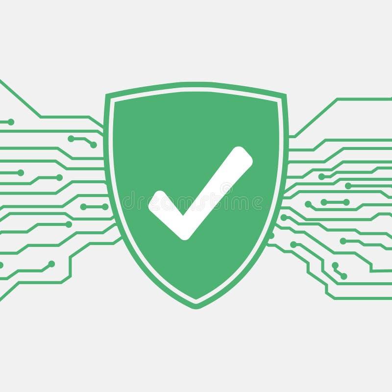 Экран с контрольной пометкой зацепляет икону Концепция защиты и антивируса Значок системы безопасностью и безопасностью бесплатная иллюстрация