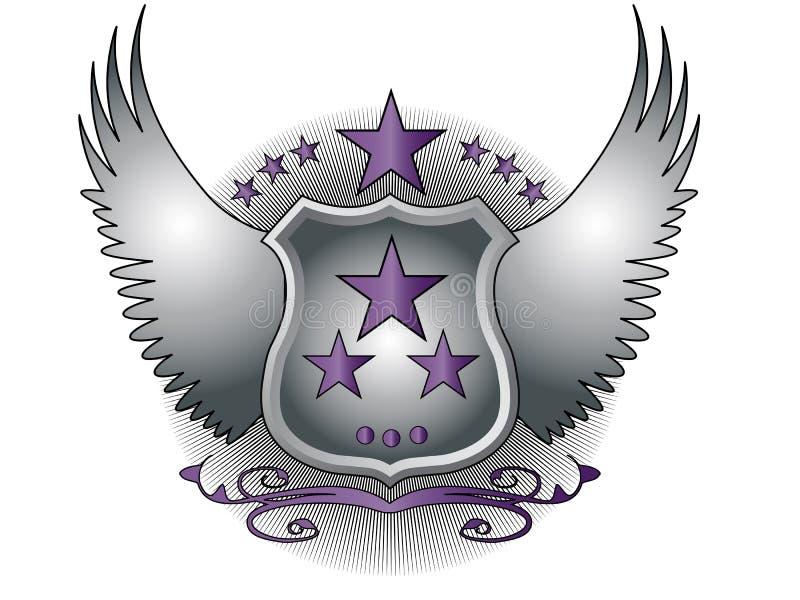 Экран с крыльями и пурпурным украшением иллюстрация штока
