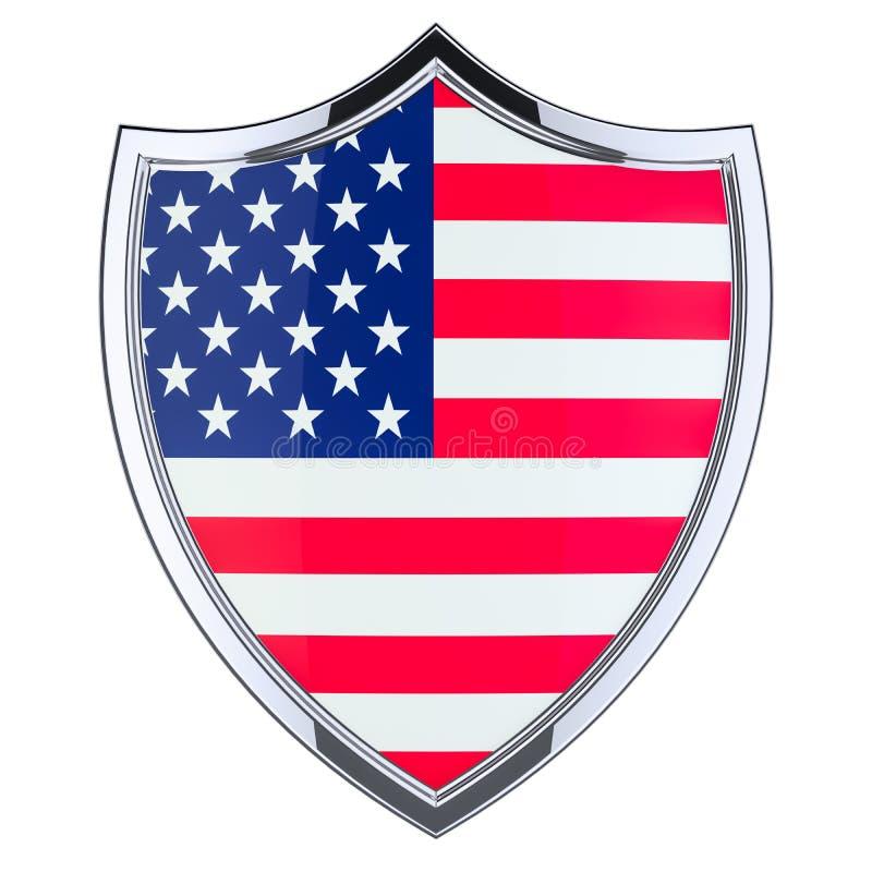 Экран с флагом Соединенных Штатов, перевод 3D иллюстрация вектора