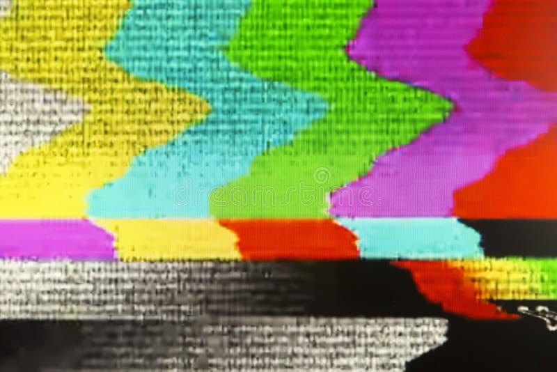 Экран телевизора при статический шум причиненный плохим recepti сигнала стоковая фотография