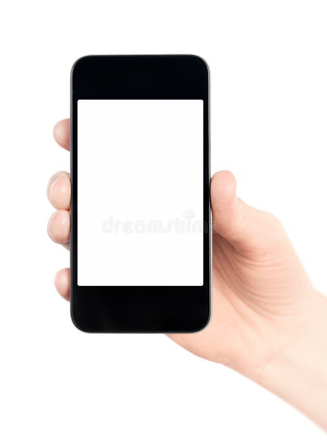экран удерживания яблока пустым изолированный iphone стоковые фотографии rf