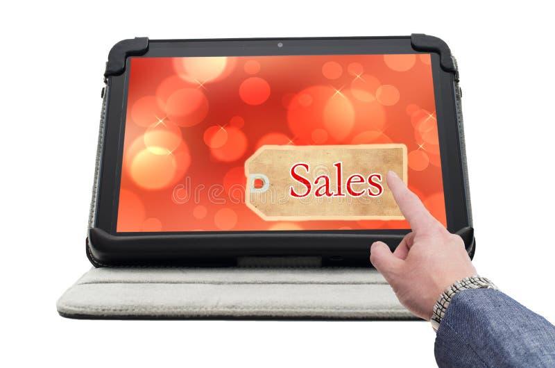Экран щелчка пальца с онлайн биркой продаж стоковая фотография