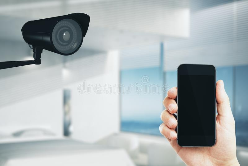 Экран Cctv и сотового телефона модель-макета стоковые фотографии rf