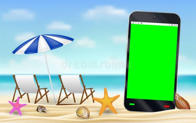 Экран Smartphone зеленый на пляже песка моря бесплатная иллюстрация