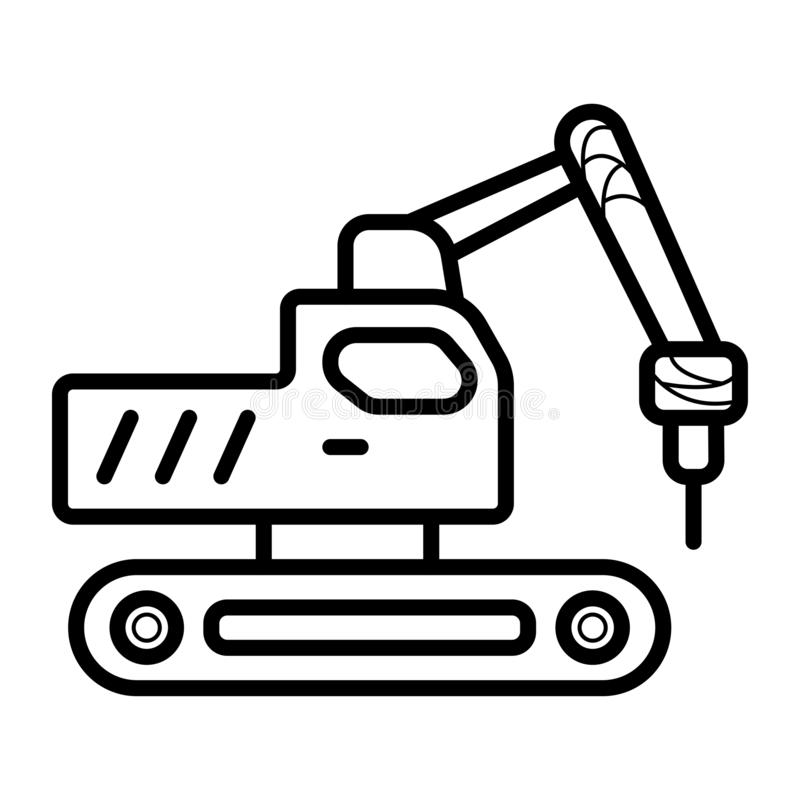 Экскаватор, затяжелитель, автомобиль, автомобиль, значок иллюстрация вектора