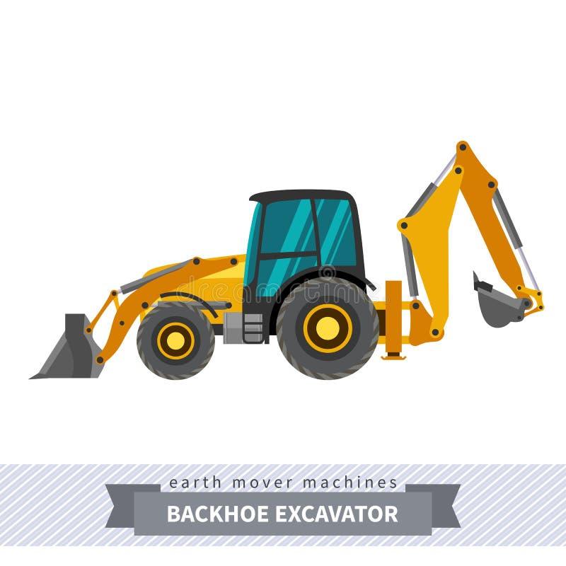 Экскаватор Backhoe для деятельности earthwork иллюстрация штока
