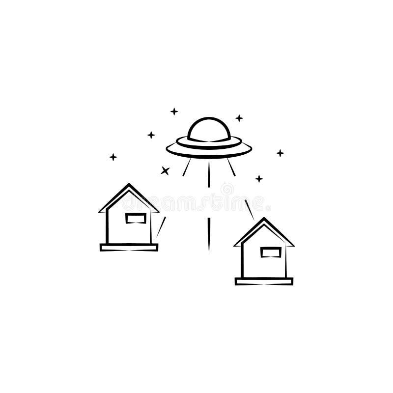 Эксперимент, дом, значок ufo Элемент значка ufo притяжки руки иллюстрация штока