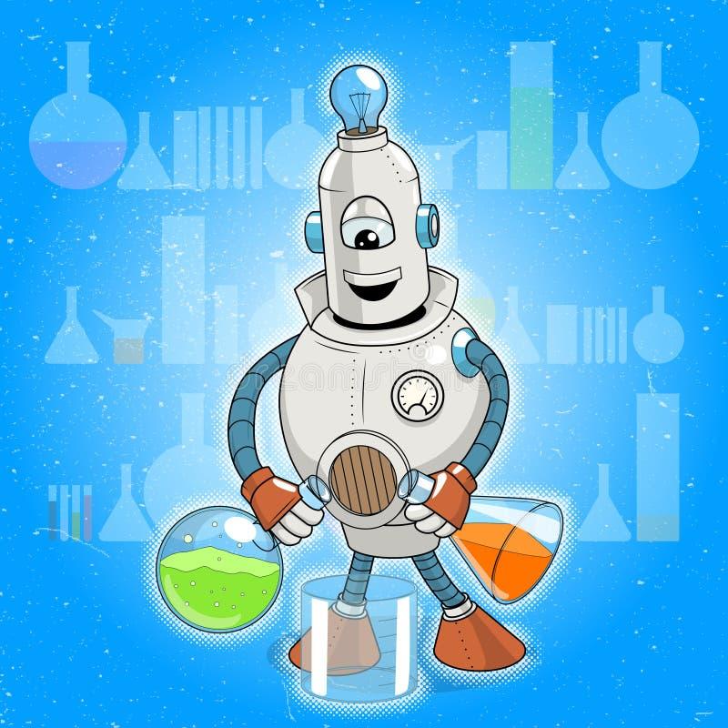 Эксперимент по науки робота шаржа вектора иллюстрация вектора