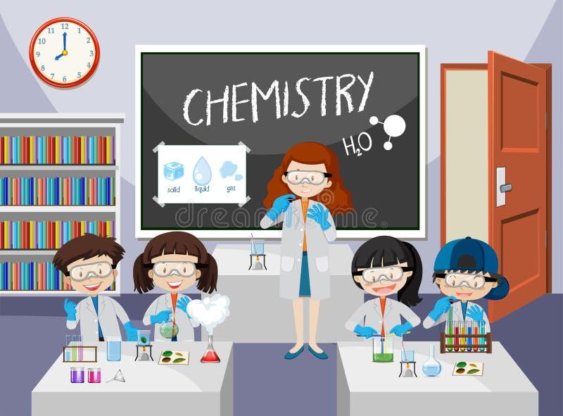 Эксперимент по студентов в классе химии иллюстрация вектора