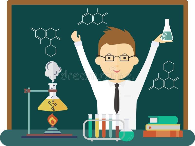 Эксперимент по химии науки хороший иллюстрация вектора