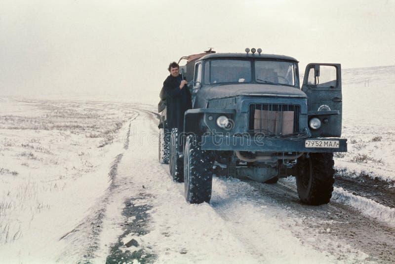 Экспедиционная тележка танка Ural-4320 имея короткий стоп стоковая фотография rf