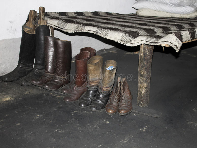 Экспозиция украинского музея ботинка семьи в XIX веке прикарпатские mts малая Украина церков западная стоковые изображения