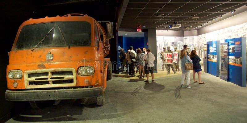 Экспонат забастовки работников санобработки Мемфиса внутри национального музея прав граждан на мотеле Лорена стоковые изображения rf