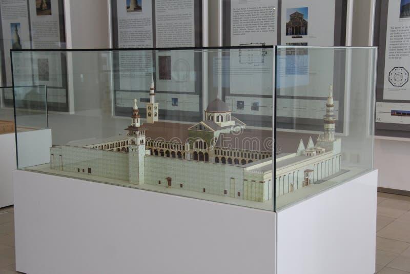 Экспонат масштабной модели большей мечети Umayyad в исламском искусстве Musium стоковые изображения