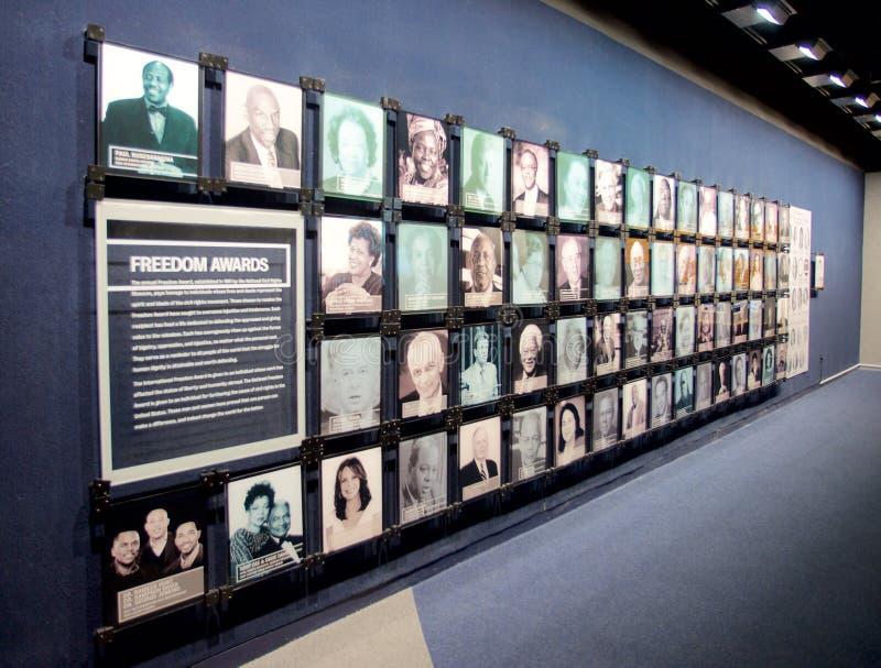 Экспонат наград свободы внутри национального музея прав граждан на мотеле Лорена стоковое фото rf