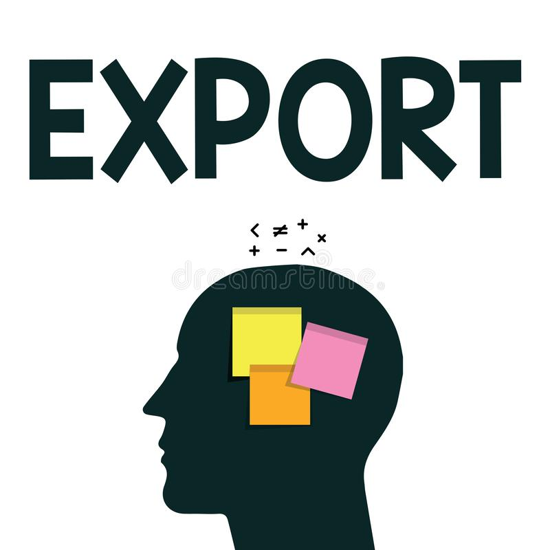 Экспорт текста сочинительства слова Концепция дела для посылает товары или услуги к другому массовому производству страны для про иллюстрация штока