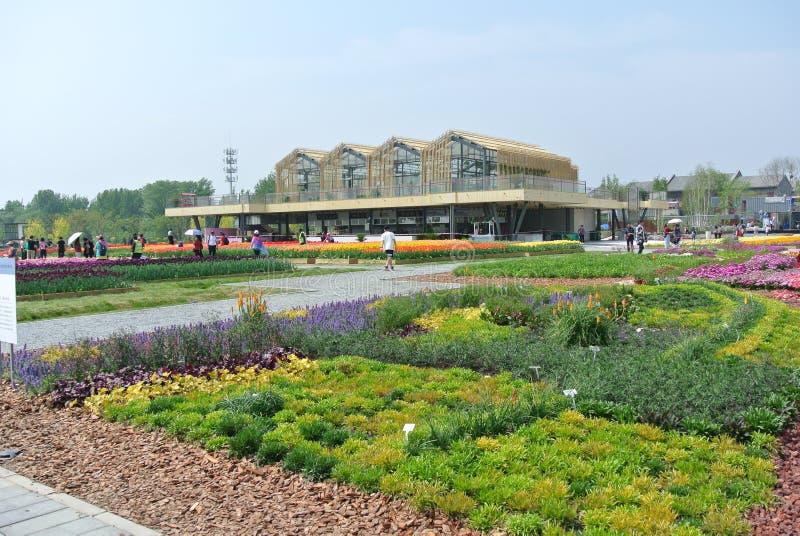 ЭКСПО 2019, китайский классический сад, китайские архитектуры, китайская культура, экспозиция 2019 Пекин международная садовничес стоковая фотография