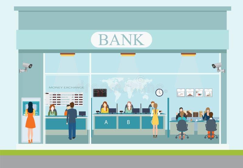 Экстерьер здания банка и интерьер банка иллюстрация штока