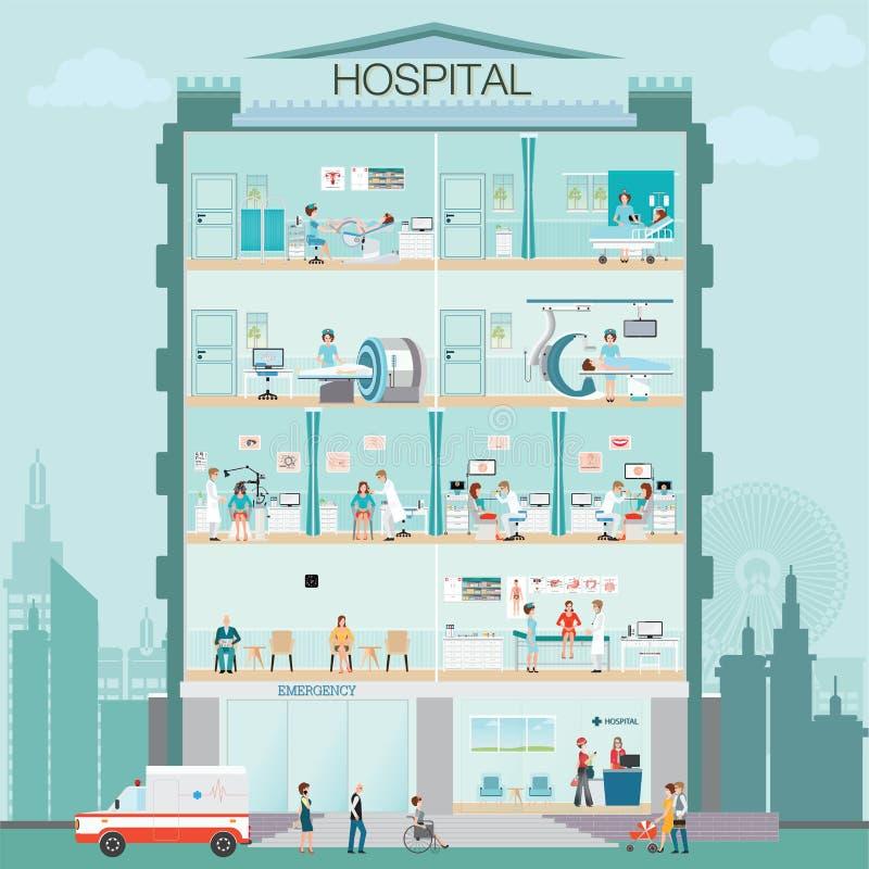 Экстерьер здания больницы с доктором и терпеливой медицинской проверкой иллюстрация штока