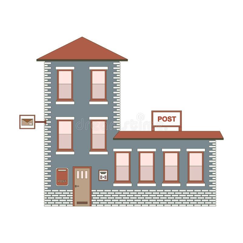 Экстерьер здания почтового отделения Иллюстрация EPS10 вектора иллюстрация штока