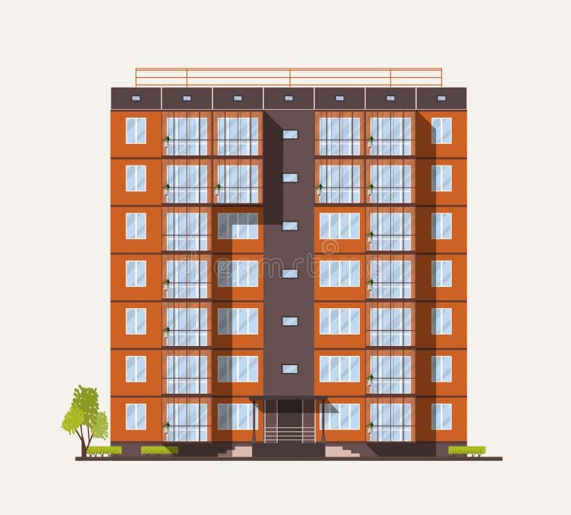 Экстерьер или фасад высокорослого жилого дома города построенного с конкретными полуфабрикат панелями или блоками в современном иллюстрация штока