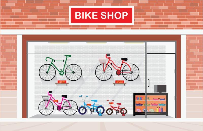 Экстерьер магазинов велосипеда или магазины велосипеда внутренние иллюстрация штока