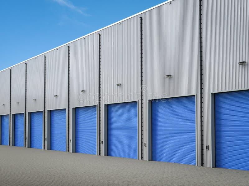 Экстерьер склада с дверями штарки иллюстрация вектора