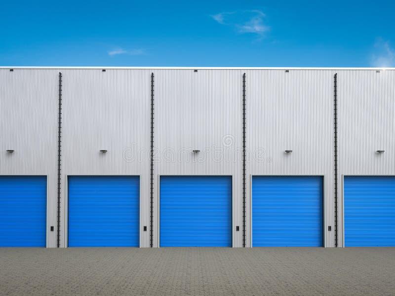 Экстерьер склада с дверями штарки иллюстрация штока