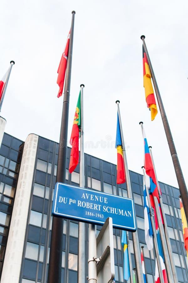 Экстерьер Совета Европы с всем членом Fla Европейского союза стоковая фотография