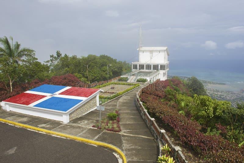 Экстерьер трамвайной остановки верхнего воздуха вверху Pico Изабелла de Torres в Puerto Plata, Dominican Republi стоковое изображение rf