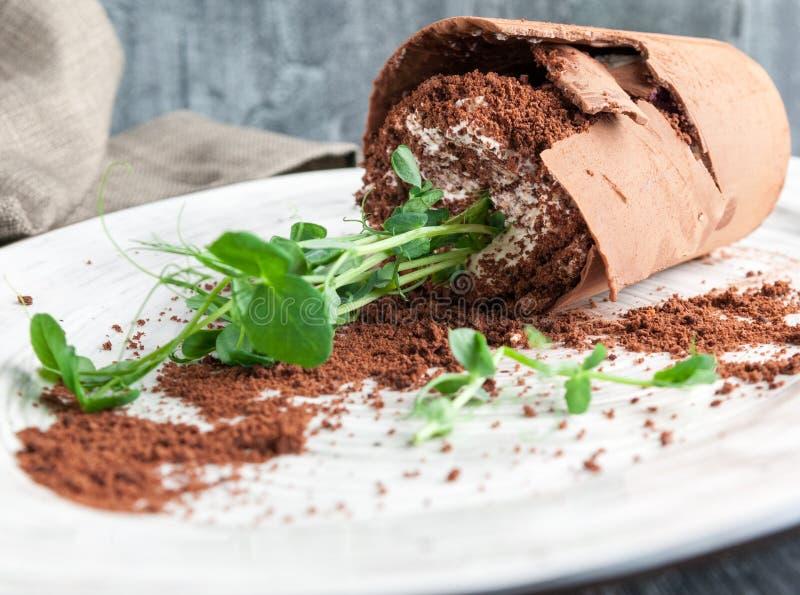 """Экстравагантный десерт """"Молочный шоколад сломленного цветка """"бельгийский совмещенный с тортом губки, шлихтой голубики, сливк масл стоковая фотография rf"""