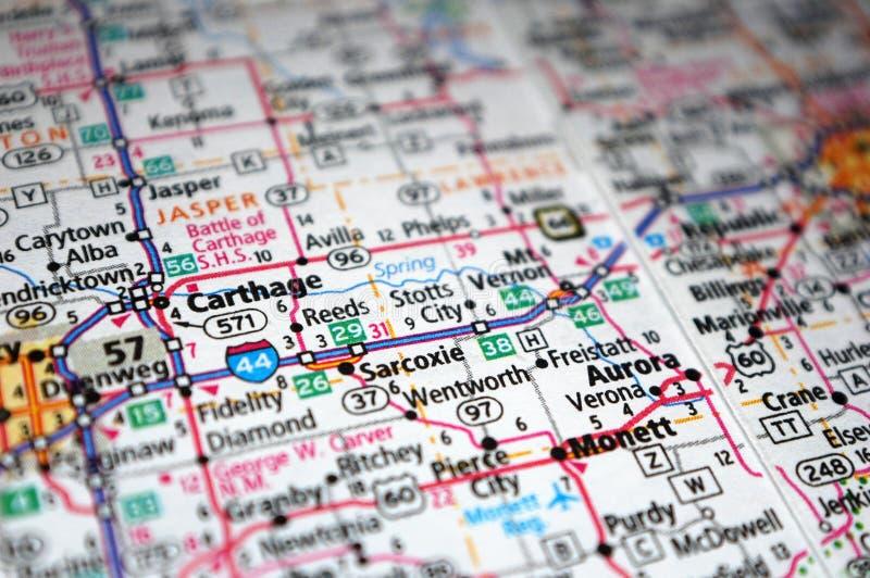 Экстремальное закрытие Карфаген, Миссури на карте стоковое фото